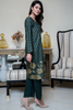 Three Piece: Bottle Green Floral Gold Linen Three Piece with Chiffon Gold Scarf