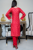 SALE Three Piece: Red Star Linen Three Piece with Gold Scarf