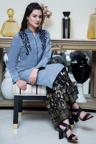 SALE Three Piece: Grey  Black Bala Hissar Three Piece with Chiffon Gold Scarf