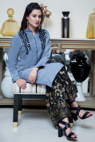 Three Piece: Grey  Black Bala Hissar Three Piece with Chiffon Gold Scarf