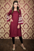 Maroon Midi Kurti with Embroidered Bell Sleeves