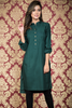 Bottle Green Pleated Linen Kurta