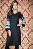 Black Midi Kurti with Embroidered Bell Sleeves