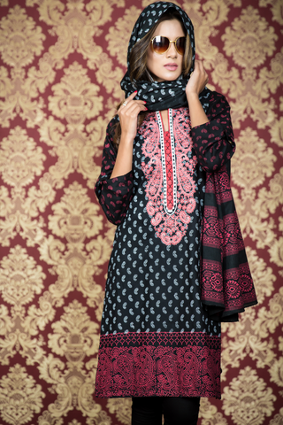 Two Piece: Midi Paisley Black Kurta with Cotton Shawl