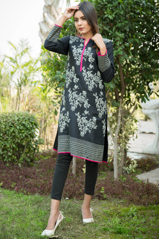 Black Rainforest Linen Kurta