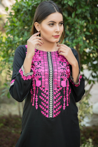 Black Babylon Garden Embroidered Kurta