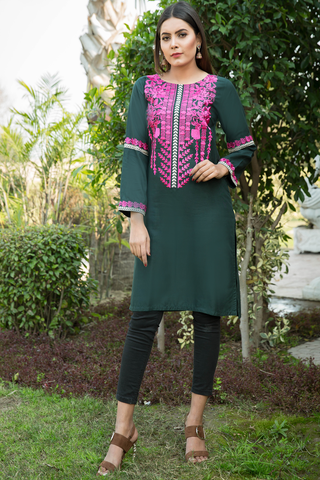 SALE Bottle Green Babylon Garden Embroidered Kurta