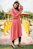 Peach Frock Self Embossed Linen Kurta