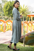 Grey Frock Self Embossed Linen Kurta