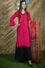 Three Piece: Pomegranate Kurta with Sharara Chiffon Scarf