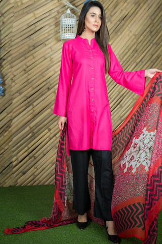 SALE Three Piece: Pink Shirt Kurta with Bell Trousers & Chiffon Scarf