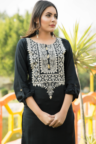 Black Embroidered Linen Kurta with Golden Tassles