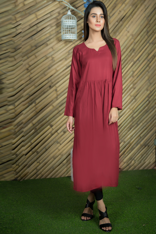 Maroon Linen Double Pocket Dress