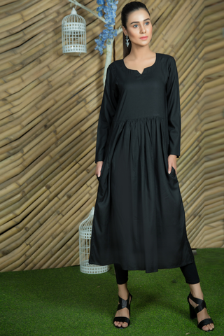 Black Linen Double Pocket Dress