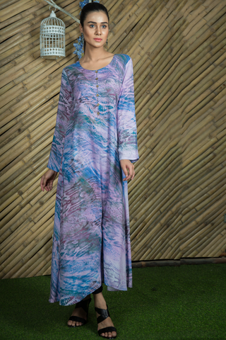 Purple Blue Linen Maxi