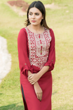 SALE Maroon Embroidered Linen Kurta with Golden Tassles
