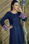 SALE Navy Single Pleated Embroidered Dress