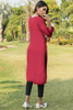 Maroon Embroidered Linen Kurta with Golden Tassles