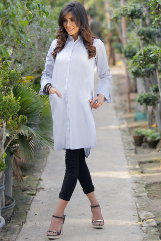 Light Blue Grey Midi Lawn Shirt Kurta with Pockets