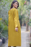 Mustard Linen Double Pocket Dress Kurta
