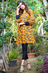 Sunflower Linen Kurta with Black Cuff Sleeves