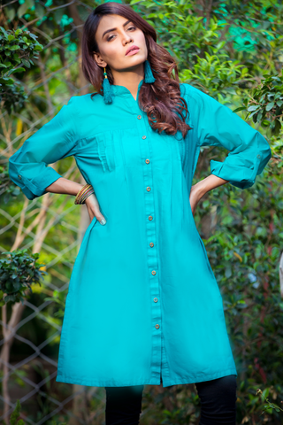 Midi Sea Green Lawn Cotton Shirt Kurta
