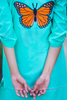 SALE Mint Embroidered Monarch Butterfly Lawn Kurta
