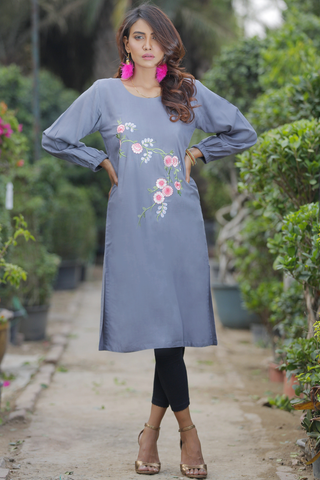 SALE Grey Dress with Bouquet Embroidery