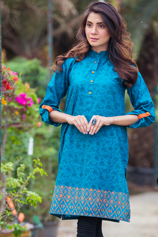 Teal Orange Printed Lawn Kurta