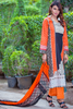Three Piece: Black Orange Soleil Kurta with Trouser & Scarf