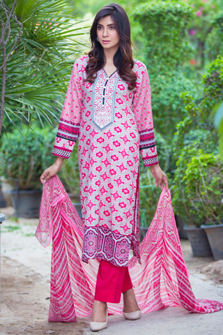 Three Piece: Pink Estella Kurta with Trousers & Scarf