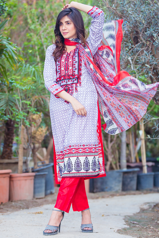 Three Piece: Red Grey Fort Kurta with Trouser & Scarf