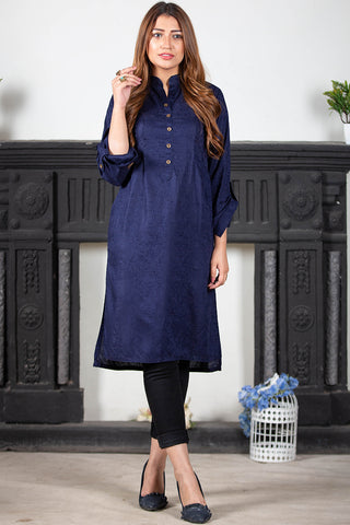 Blue Self Embossed Linen Kurta