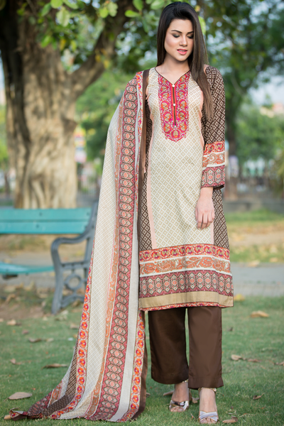 Three Piece: Brown Nubera Kurta with Trouser & Scarf