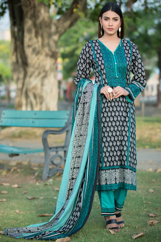 Three Piece: Firozi Zulema Kurta with Trouser & Scarf