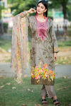 SALE Three Piece: Floral Fatin Kurta with Trouser & Scarf