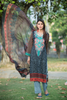 Three Piece: Grey Embroidered Floral Kurta with Trouser & Scarf