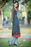 SALE Three Piece: Grey Embroidered Floral Kurta with Trouser & Scarf