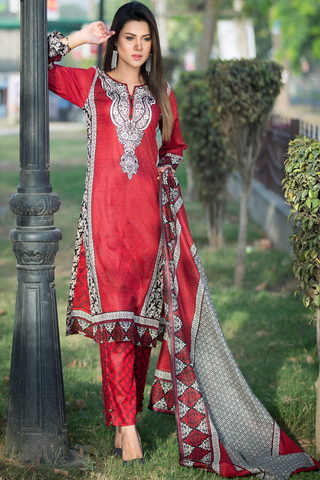 Three Piece: Alva Red Kurta with Trouser & Scarf
