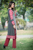 Three Piece: Black Pink Polka Kurta with Trouser & Scarf