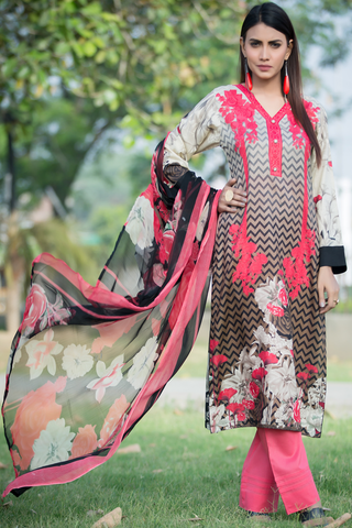 SALE Three Piece: Beige Pearl Essence Kurta with Trouser & Scarf