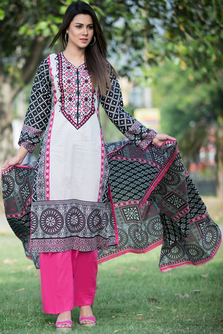 Three Piece: Pink White Black Mayan with Trouser & Scarf