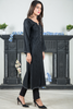 Black Self Linen Long Kurta with Off-White Threadwork