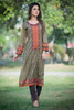 Three Piece: Beige Brown Avalon Kurta with Trouser & Scarf