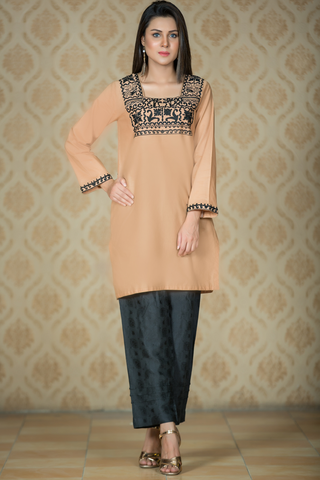 Beige Kurta with Black Aari Embroidery