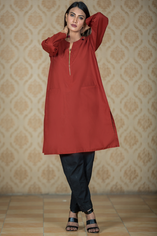 Carrot Zip Cotton Kurta with Double Pocket