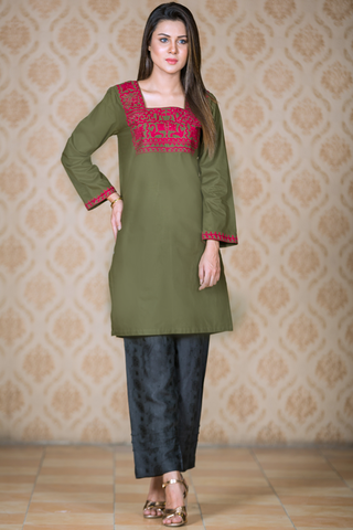 Military Green Kurta with Maroon Aari Embroidery