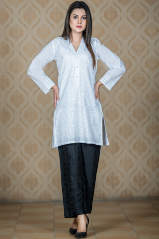 White Chikan Front Cotton Kurta