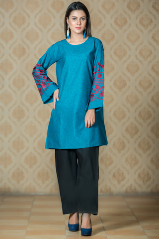 Printed Teal Kurta with Computer Aari Embroidery on Sleeves