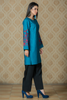 SALE Printed Teal Kurta with Computer Aari Embroidery on Sleeves